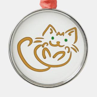 Playful Kitty Metal Ornament