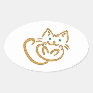 Playful Kitty Oval Sticker