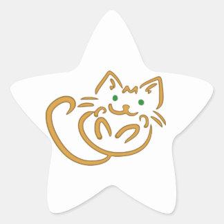 Playful Kitty Star Sticker