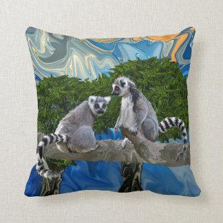 Playful Lemur-ick Throw Pillow