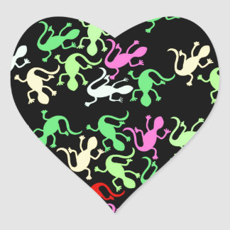 Playful lizards heart sticker