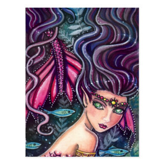 Playful Mermaid and Fish Postcard