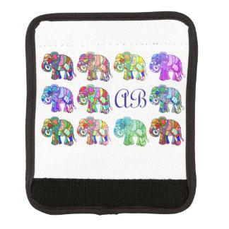 Playful monogram colourful ornamental elephants luggage handle wrap
