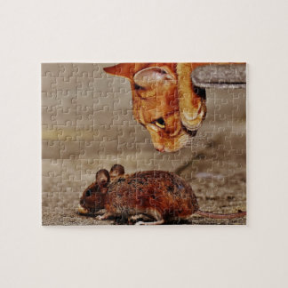 Playful Orange Tiger Cat with a Mouse Jigsaw Puzzle