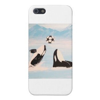 PLAYFUL ORCA WHALE WHALES PLAYING SOCCER COVER FOR iPhone 5/5S