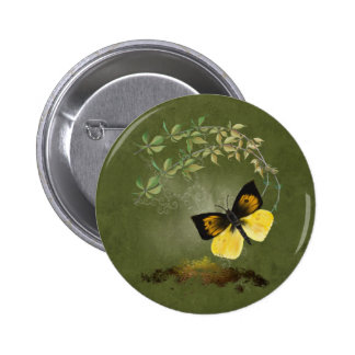Playful Painted Butterfly-  Button