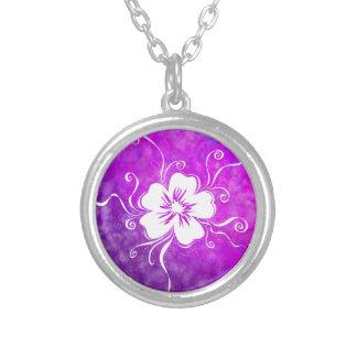 Playful Pansy - reverse vivid violet Silver Plated Necklace