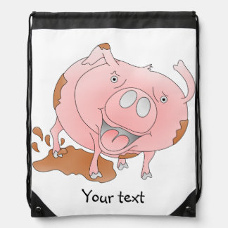 Playful pig in muddy puddle drawstring bag