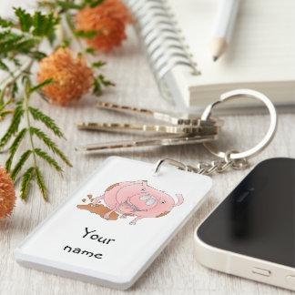Playful pig acrylic keychain