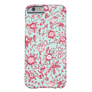 Playful Pink and Blue Love Flowers iPhone 6 Case