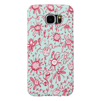 Playful Pink and Blue Love Flowers Samsung S6 Case