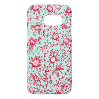 Playful Pink and Blue Love Flowers Samsung S7 Case