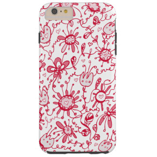 Playful Pink Love Flowers iPhone 6 Plus Case