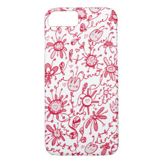 Playful Pink Love Flowers iPhone 7 Case