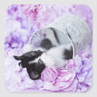 "Playful ""Pippa"" Purple Floral Square Sticker"