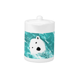 Playful Polar Bear In Turquoise Water Design