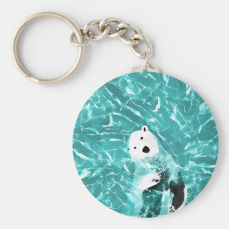 Playful Polar Bear In Turquoise Water Design Basic Round Button Keychain