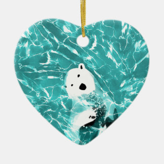 Playful Polar Bear In Turquoise Water Design Ceramic Heart Ornament