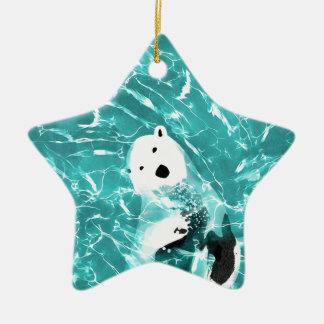 Playful Polar Bear In Turquoise Water Design Ceramic Ornament