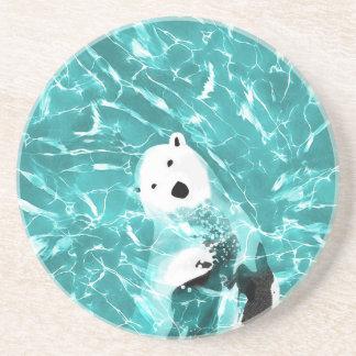 Playful Polar Bear In Turquoise Water Design Coaster