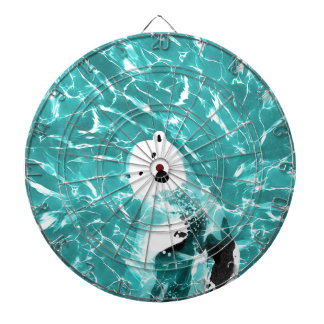 Playful Polar Bear In Turquoise Water Design Dartboard
