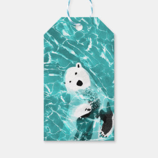 Playful Polar Bear In Turquoise Water Design Gift Tags