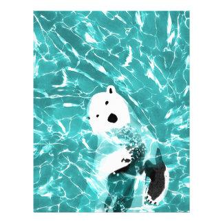Playful Polar Bear In Turquoise Water Design Letterhead