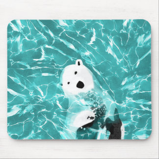 Playful Polar Bear In Turquoise Water Design Mouse Pad