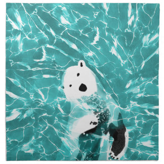 Playful Polar Bear In Turquoise Water Design Napkin