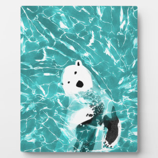 Playful Polar Bear In Turquoise Water Design Plaque