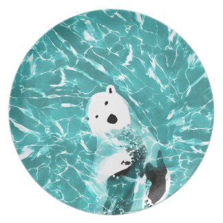 Playful Polar Bear In Turquoise Water Design Plate
