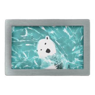 Playful Polar Bear In Turquoise Water Design Rectangular Belt Buckles