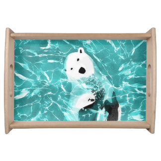 Playful Polar Bear In Turquoise Water Design Serving Tray