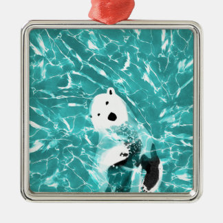 Playful Polar Bear In Turquoise Water Design Silver-Colored Square Ornament
