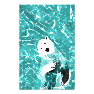 Playful Polar Bear In Turquoise Water Design Stationery