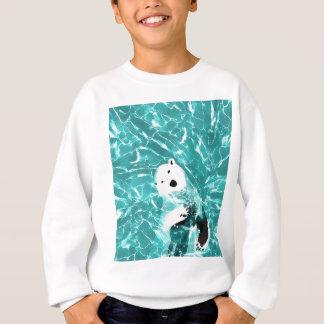 Playful Polar Bear In Turquoise Water Design Sweatshirt
