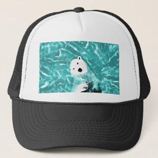 Playful Polar Bear In Turquoise Water Design Trucker Hat