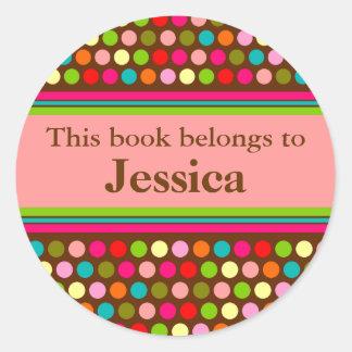 Playful Polka Dots Book Label Round Sticker