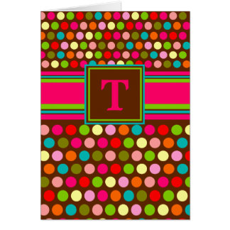 Playful Polka Dots Monogram Notecard