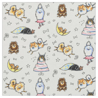 Playful Pomeranians Cool Gray Fabric