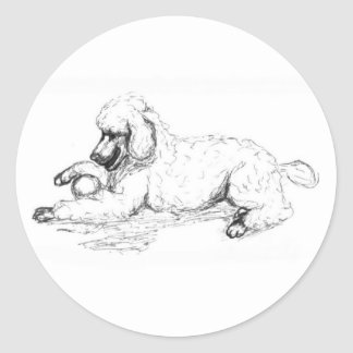 Playful Poodle Round Sticker