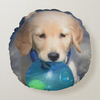 Playful Puppies Custom Round Throw Pillow