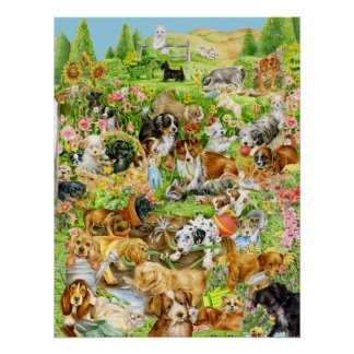 Playful Puppies Poster
