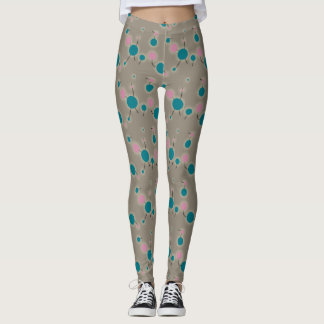 Playful Retro Small Molecules Universe Pink Blue Leggings