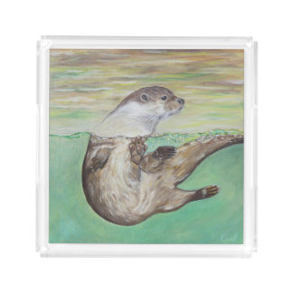 Playful River Otter Acrylic Tray