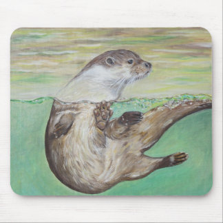 Playful River Otter Mouse Pad