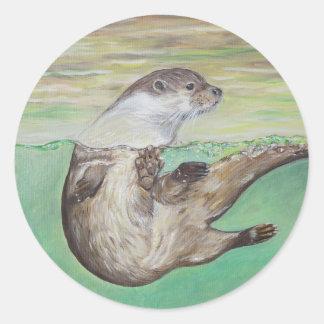 Playful River Otter Round Sticker