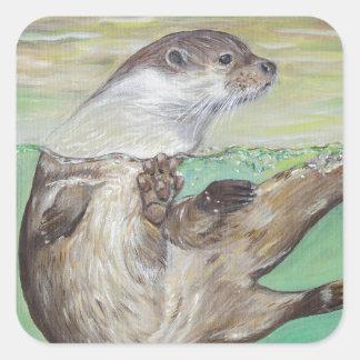 Playful River Otter Square Sticker
