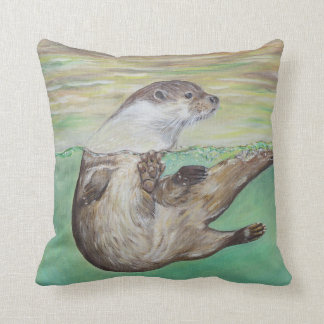 Playful River Otter Throw Pillow