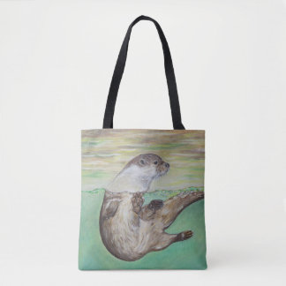 Playful River Otter Tote Bag